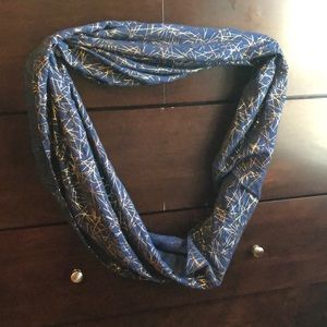 Navy and gold infinity scarf